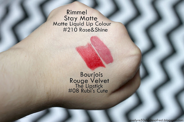 Rimmel, Stay Matte Liquid Lip Colour #210 Rose&Shine Bourjois Rouge Velvet the Lipstick 08 Rubis-Cute
