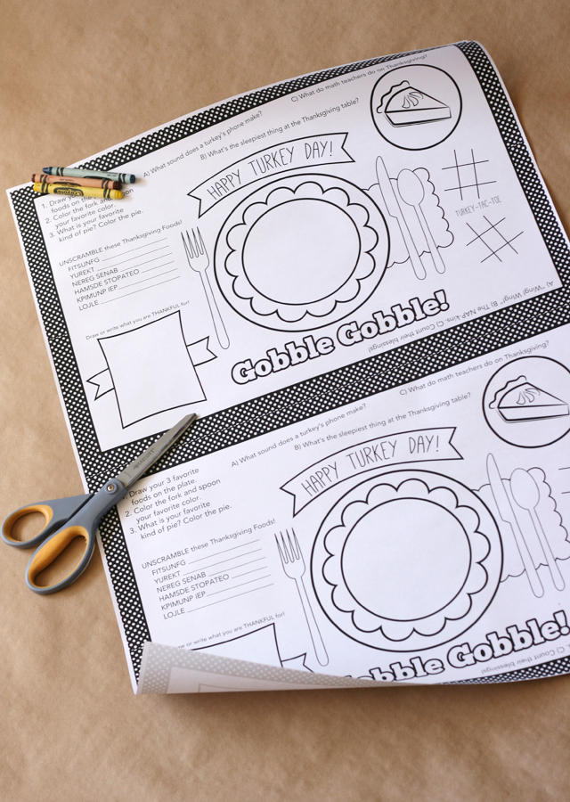Kids Thanksgiving Placemat + 12 FREE Thanksgiving Printables - My