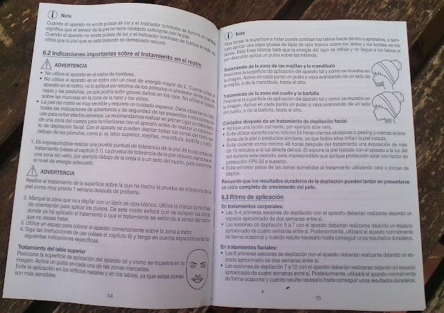 Libro instrucciones Depiladora IPL Lidl http://mujercicash.blogspot.com.es/