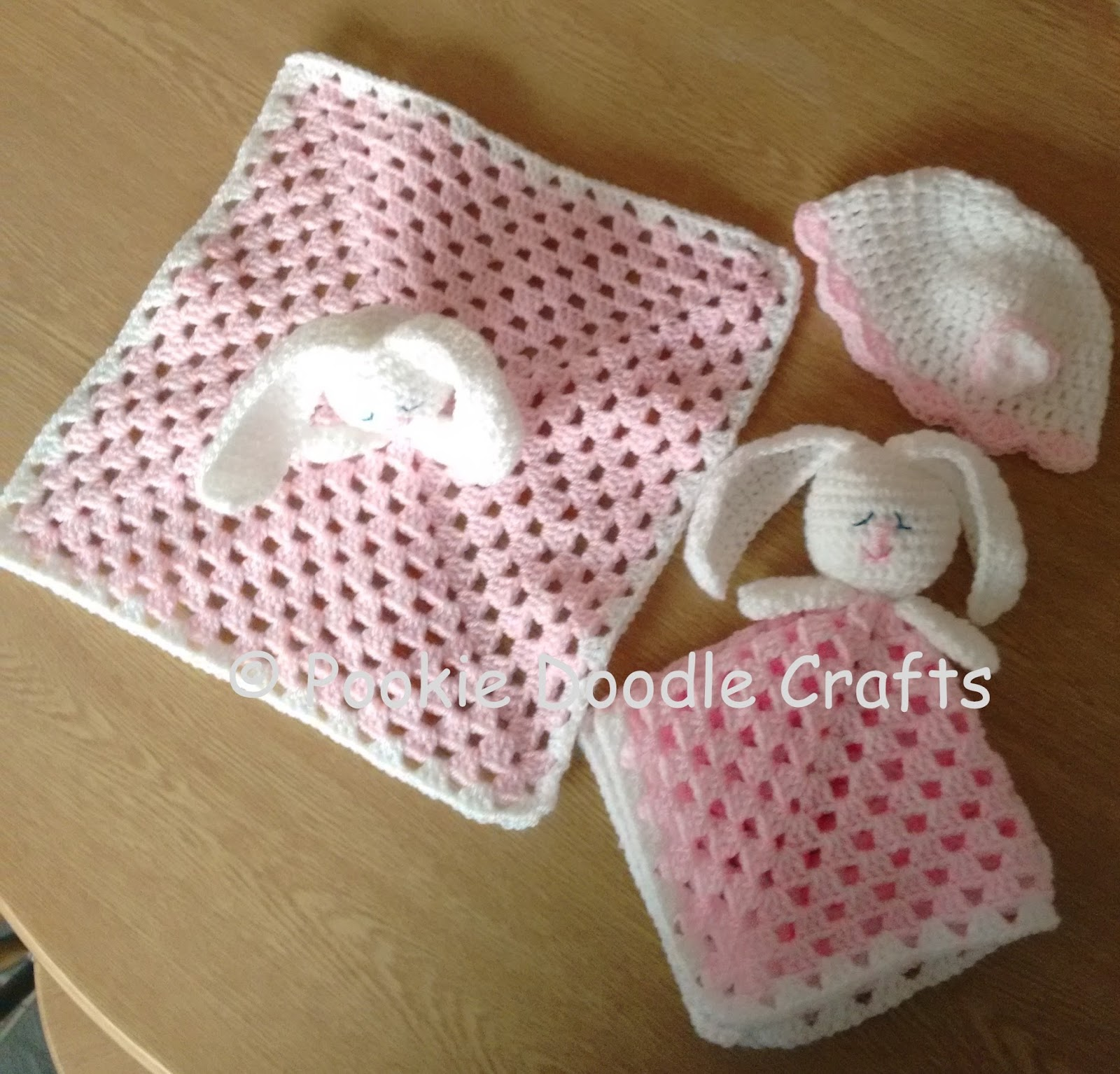 Pookie Doodle Crafts: Crochet Baby Comforter/Rabbit Toy and Hat