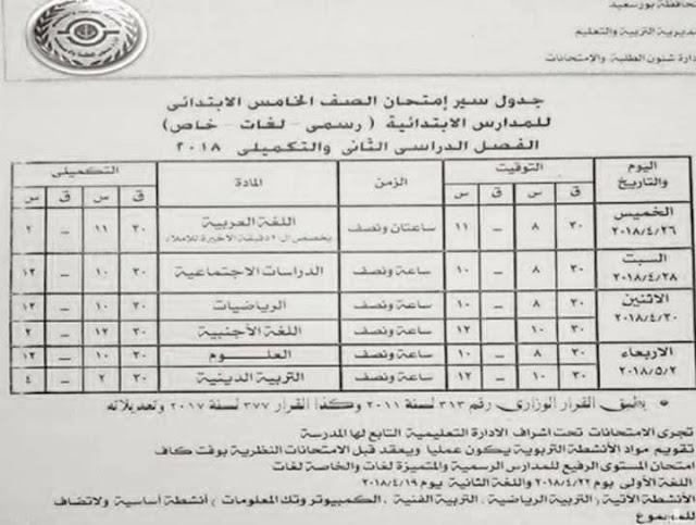 جدول امتحانات الصف الخامس الابتدائي 2018 الترم الثاني محافظة بورسعيد