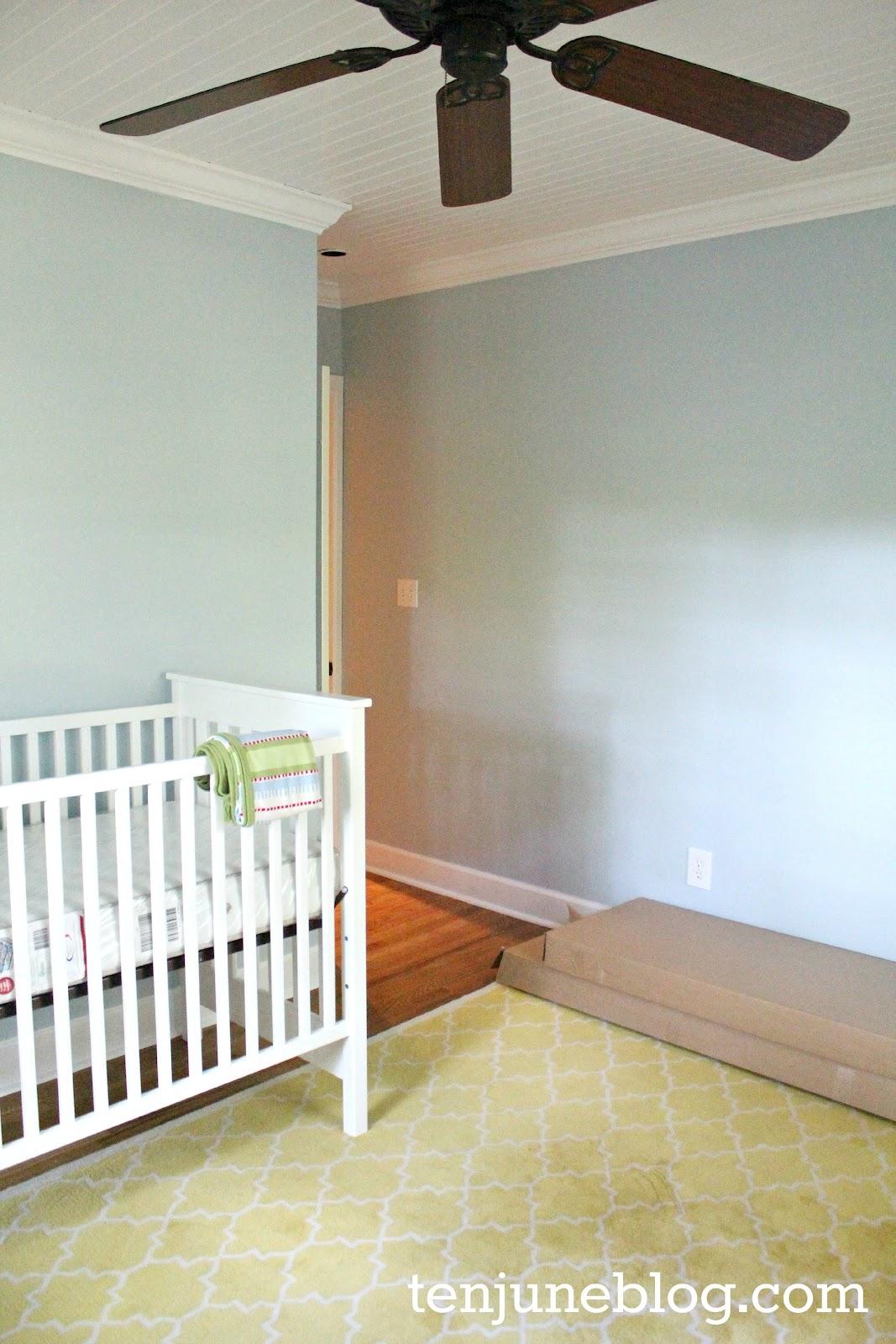 Ten June Nursery Update A Freshly Painted Baby Boy S Room Sherwin Williams Emerald Paint Review