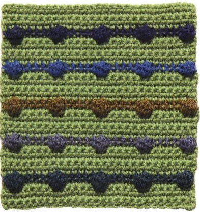 Patrón #1165: Rayas de Pompones a Crochet