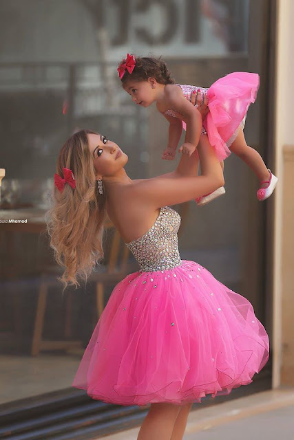 Glamorous Sequins Tulle Short Mother And Daughter Dress 2019 Sweetheart