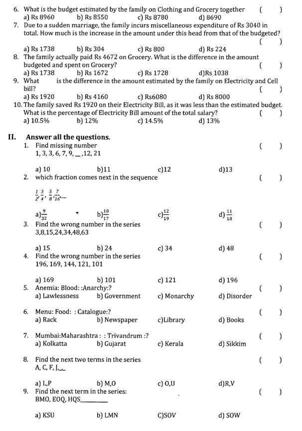 B Sc  (II YEAR) SEMESTER-IV ANALYTICAL SKILLS MODEL QUESTION
