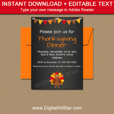 Thanksgiving Chalkboard Invite by Digital Art Star
