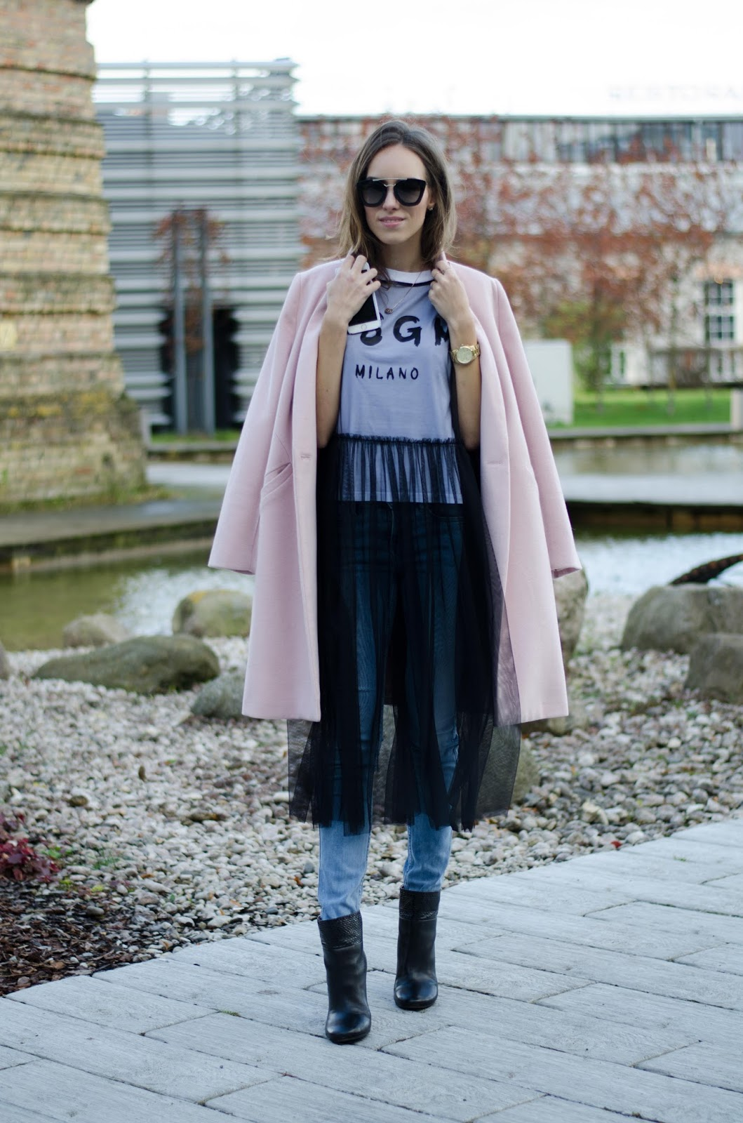 pink coat dress over jeans fall outfit