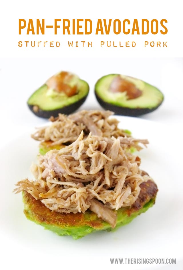 Sliced pan-fried avocado halves stuffed with slow cooked pulled pork and fresh squeezed lime juice. It's a delicious low-carb, high protein dish with healthy fats that you can serve as breakfast, lunch, dinner or an appetizer.