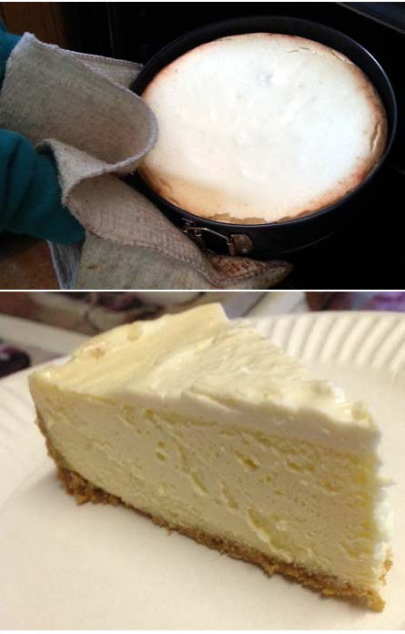 Classic New York Cheesecake with Sweetened Sour Cream Topping and Graham Cracker Crust
