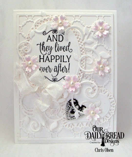 Our Daily Bread Designs, Happily Ever After, Bitty Blossoms dies, Ovals Dies, Ornate Ovals dies, Fancy Foliage Dies, Scalloped Chain dies,  tulip heart dies, Ornate Heart dies, designed by Chris Olsen