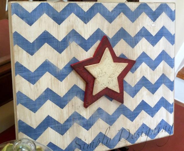 chevron07 Star & Chevron Stripe Patriotic Sign {4th of July decor} 29