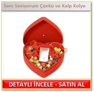 Seni Seviyorum Çünkü ve Sultan Altun 925 Ayar Gümüş Kalp Kolye