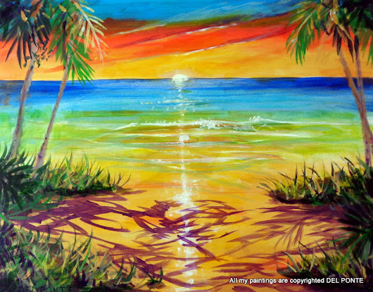 KEY WEST SUNSET PAINTING DEL PONTE
