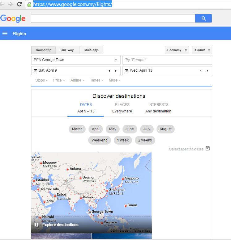Google Flight  Memasuki Malaysia