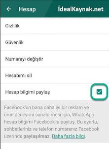 WhatsApp Bilgilerinin Facebook ile Paylaşımını Engellemek