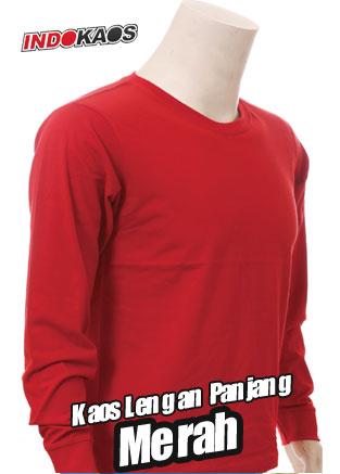 Kaos Polos Lengan Panjang Merah