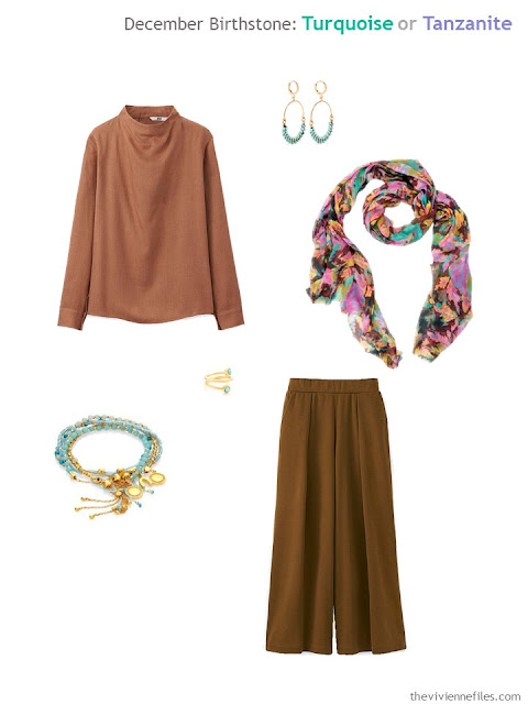 a copper brown outfit worn with turquoise jewelry and a printed scarf