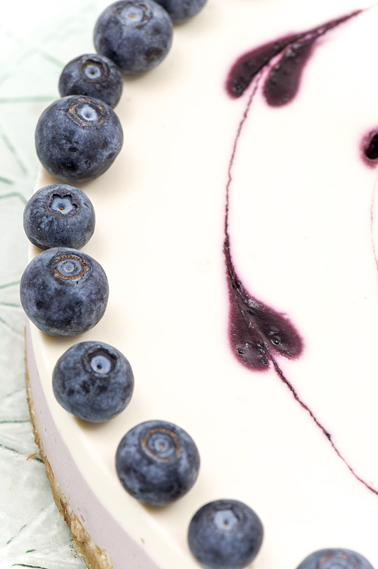 Raw blueberry lime cake close up