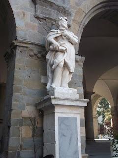 The statue of Torquato Tasso in Bergamo's Piazza Vecchia
