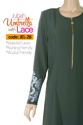 Jubah Umbrella Lace JEL-28 Grey Depan 6