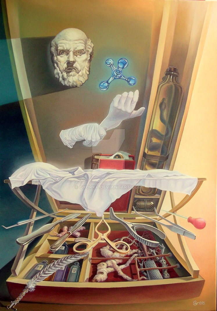 09-Primum-non-nocere-First-do-no-harm-Gyuri-Lohmuller-Complex-Surreal-Paintings-that-make-you-Think-www-designstack-co