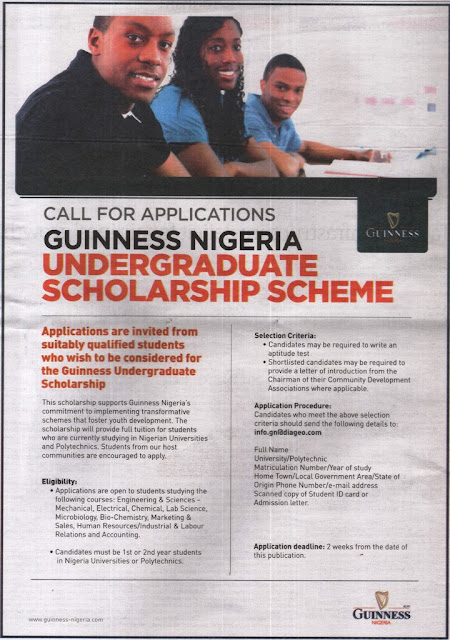 Guinness-Nigeria-Scholarship-Scheme-For-Nigerians-2019