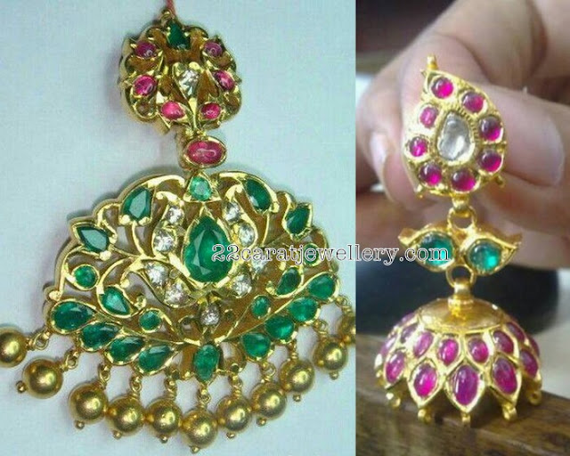 Emerald Pendant with Jhumkas