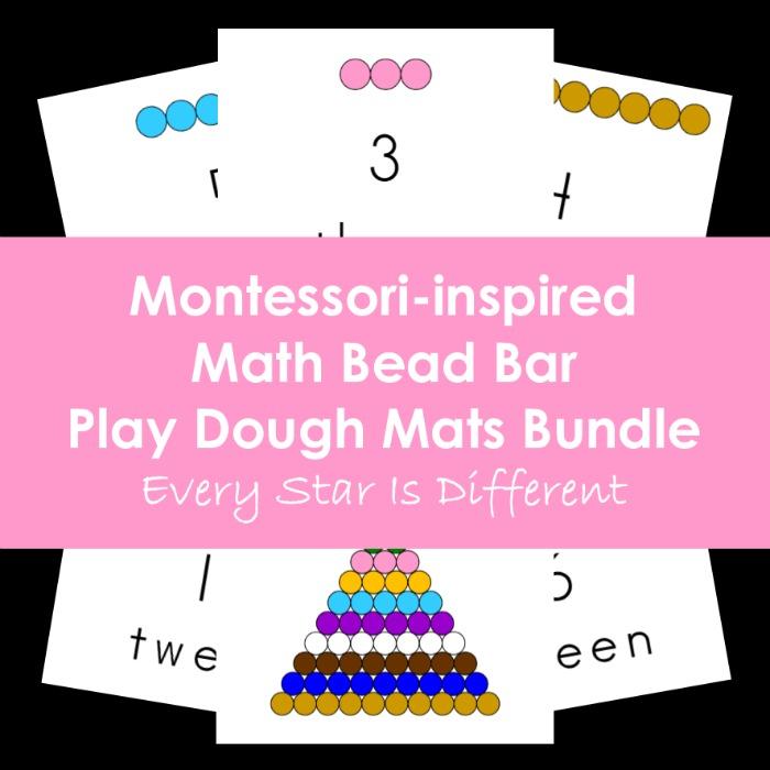 Montessori-inspired Math Bead Bar Play Dough Mats Bundle