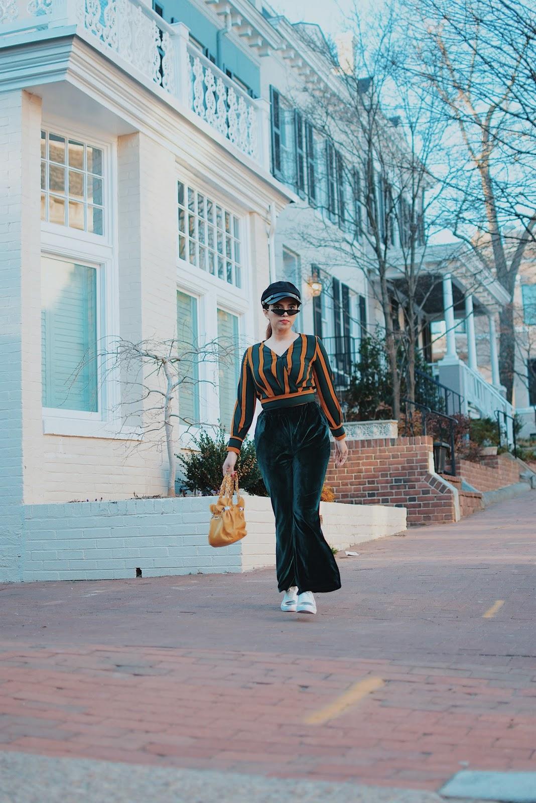 Stripes -Velvet- Mari Estilo-fashionblogger-lookoftheday-dcblogger-armandhugon-streetstyle-fashionista-moda-sportychic-primavera2018