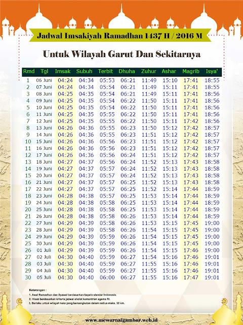 Jadwal Imsakiyah Garut Ramadhan 1437 H 2016 M