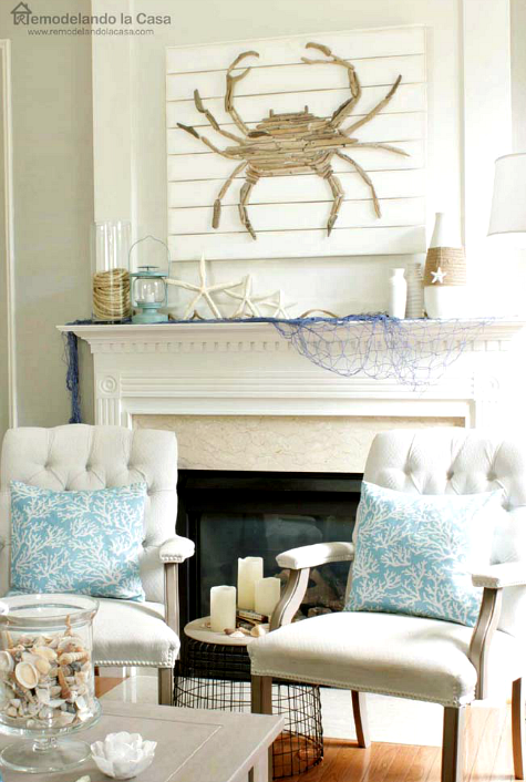 Coastal summer home with diy driftwood crab rope and for Coastal wall decor ideas