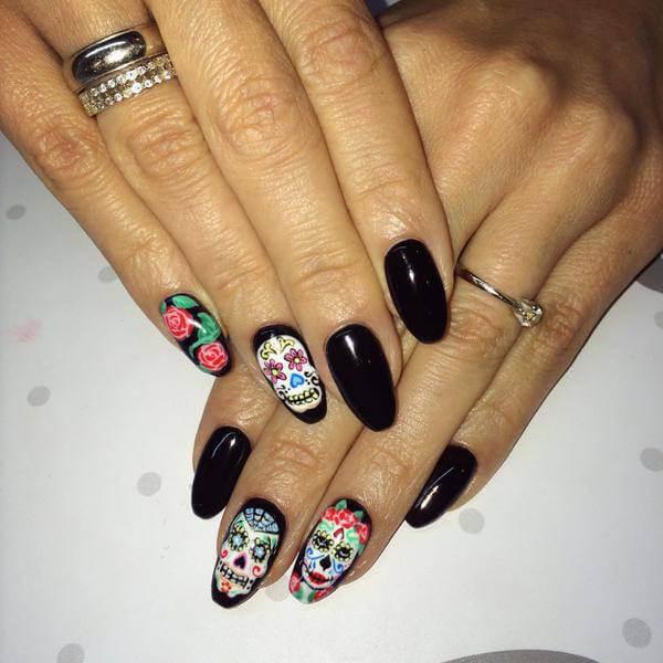 Halloween, Sugar Skull Nails
