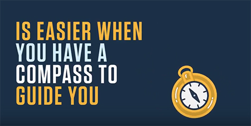 Snapshot from a student success video.  Illustrated image of a compass.  Text: Is easier if you have a compass to guide you