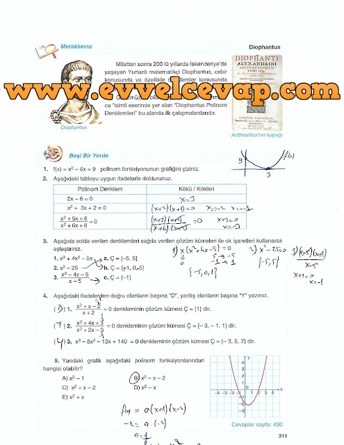 10. Sınıf Matematik Tuna Yayınları Ders Kitabı 311. Sayfa Çözümleri