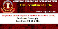CBI Recruitment 2016 For Inspector Police Posts Apply Here