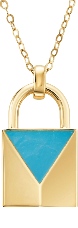 MICHAEL KORS 14K Gold-Plated Sterling Silver Turquoise Lock Necklace