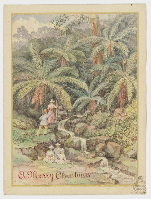 """Christmas Card design depicting Victorian era picnic beside a stream in the bush with the words """"A Merry Christmas""""."""