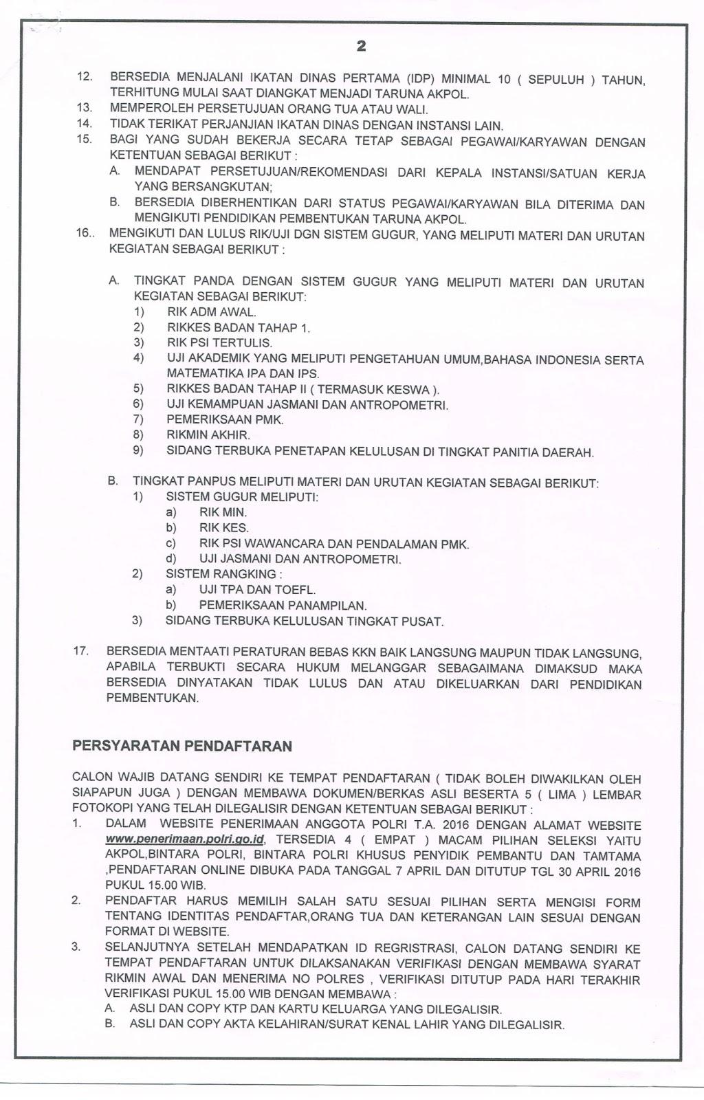 PERSYARATAN PENDAFTARAN TARUNA AKPOL T.A.2016 ~ BAG SUMDA