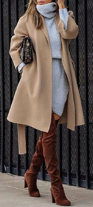 how to style a nude coat : sweater dress + brown over the knee boots
