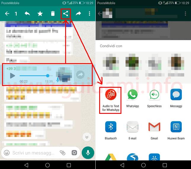 WhatsApp selezionare messaggio vocale e condividerlo con app Android Audio to Text per WhatsApp
