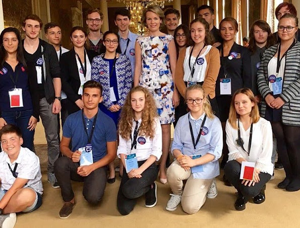 Queen Mathilde of Belgium attended the Conference of Children's Rights at Academy Palace