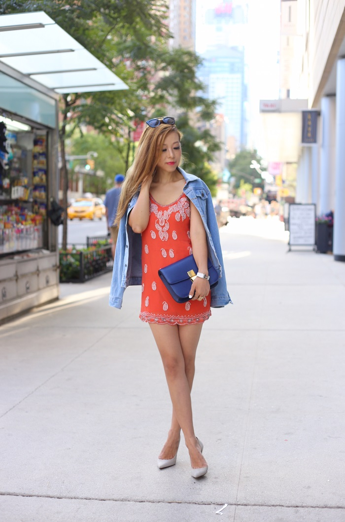 Raga eternal love dress, revolve me, nastygal sunglasses, gorjana earrings, denim jacket, schutz heels, beaded dress, fashion blog, new york street style, celine classic box bag