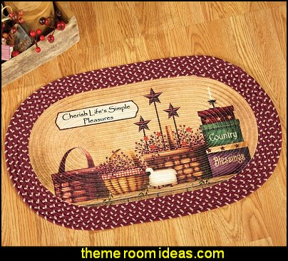 Primitive Country Charm Braided Rug   primitive americana decorating style - folk art - heartland decor - rustic Americana home decor - Colonial & Country style decorating Americana bedroom designs - Primitive Country Rustic decor