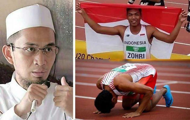 Gara-gara Ekspresi Ini, Ustaz Adi Hidayat Hadiahkan Zohri Si Pelari Tercepat Dunia Asal Lombok Umroh