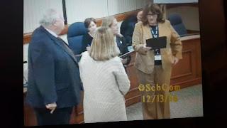 Gina Jones, Beth Carter, SchComm Chair O'Malley, Superintendent Sabolinski