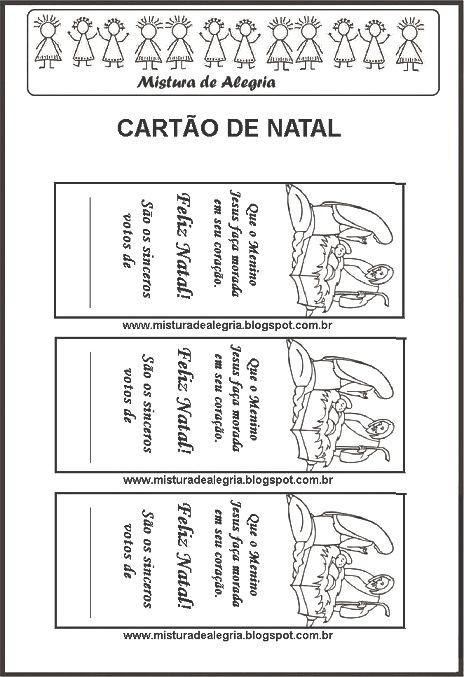 cartÕes de natal para colorir imprimir mistura de alegria