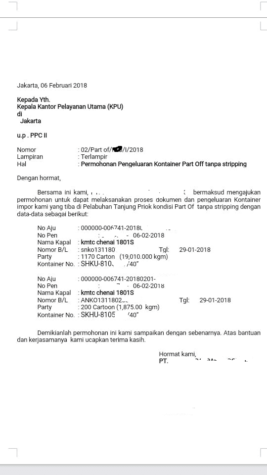 Contoh Surat Pengajuan Permohonan Part Off Container Ke Bea