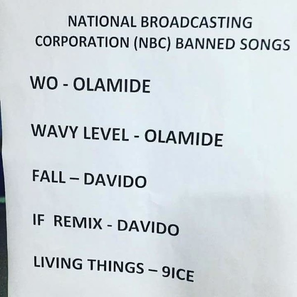 NBC Bans 5 Nigerian Music