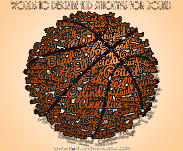 synonyms for round and roundness positive word cloud