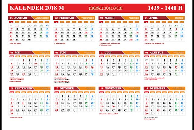 Gratis Kalender 2018 PDF lengkap libur nasional dan